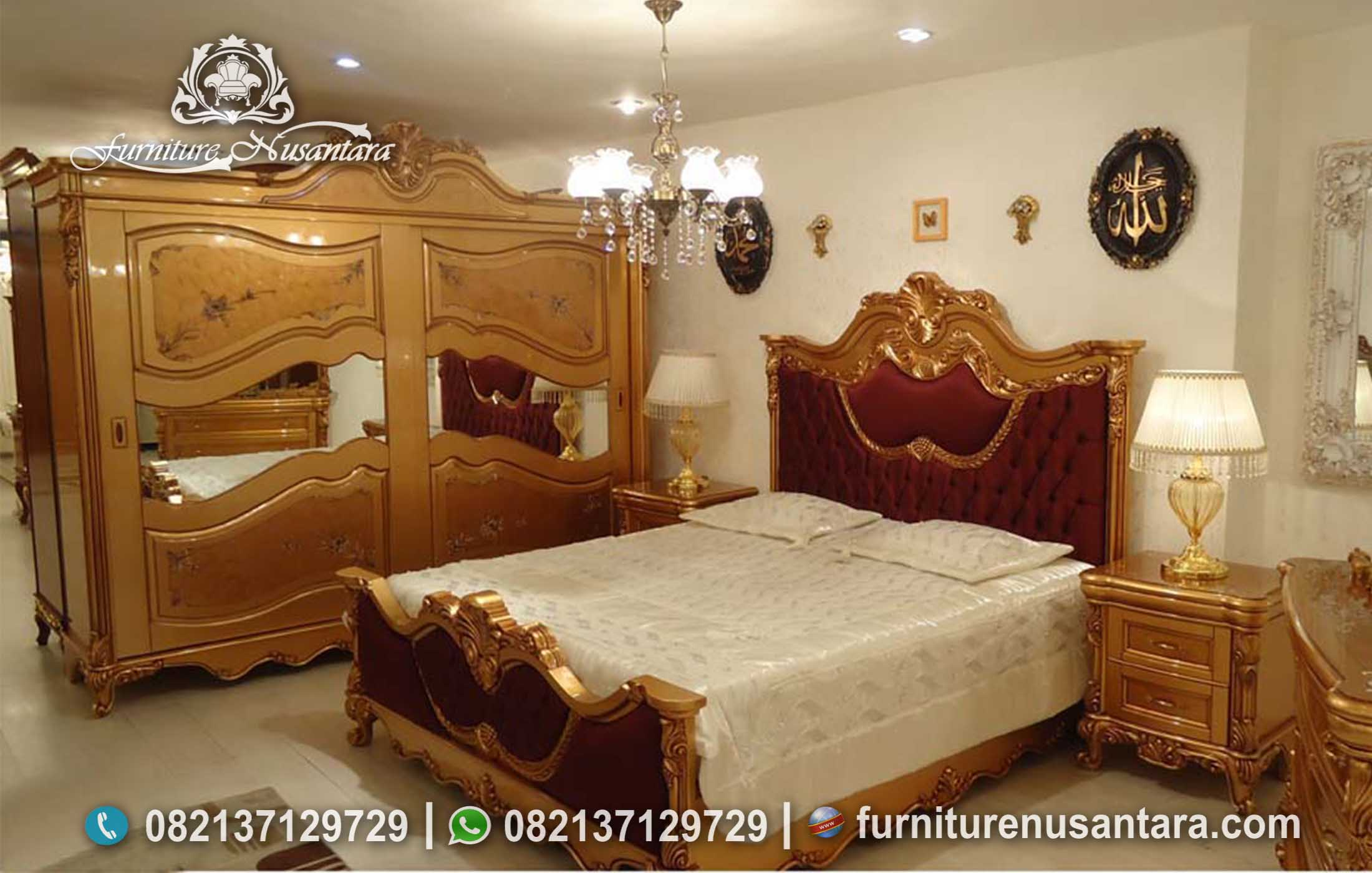 Kamar Tidur Merah Maroon Mewah KS-133, Furniture Nusantara