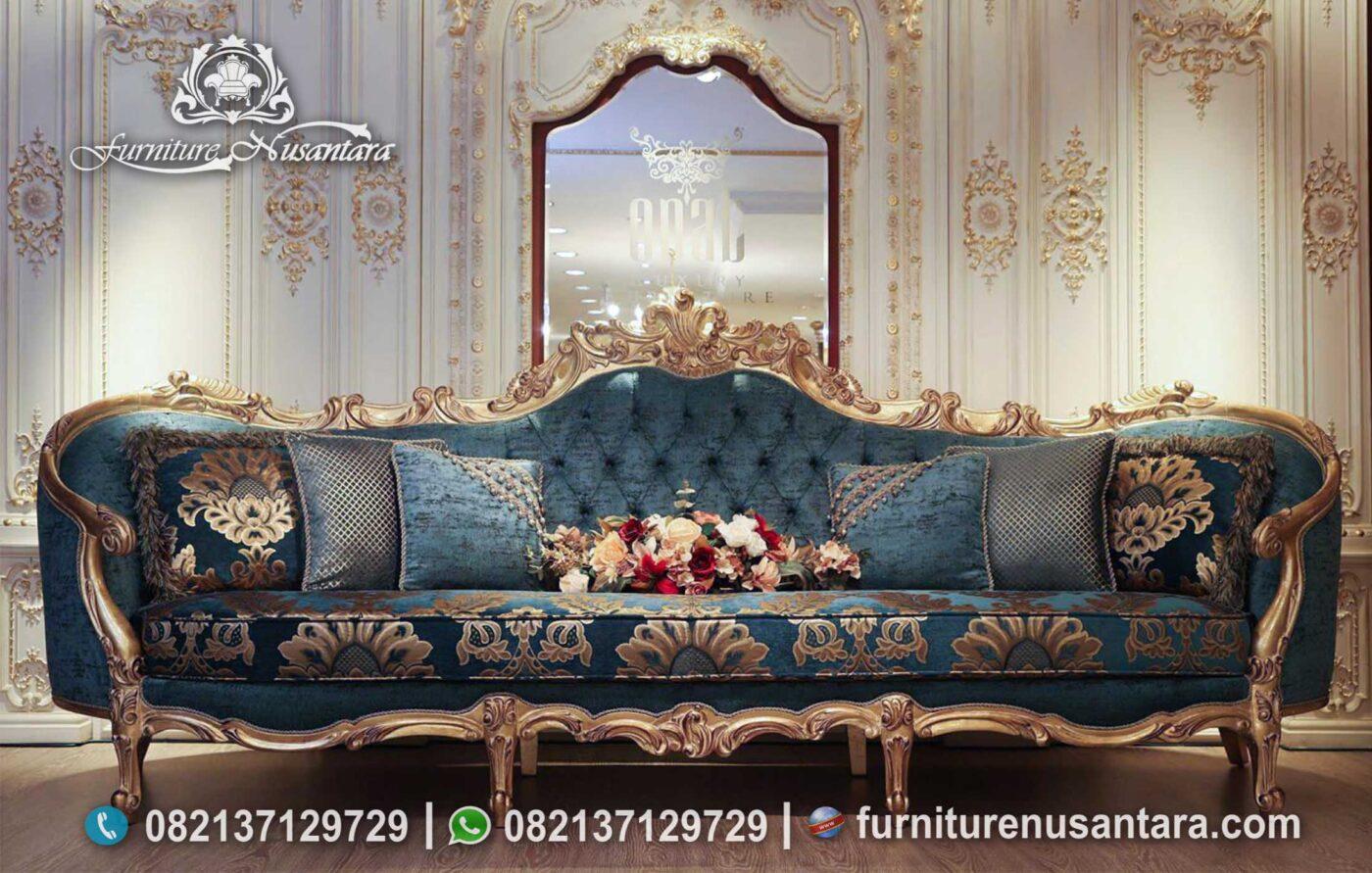 Sofa Klasik Ukir Jepara Warna Hijau ST-45, Furniture Nusantara