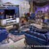 Set Sofa Chester Klasik Warna Biru ST-27, Furniture Nusantara
