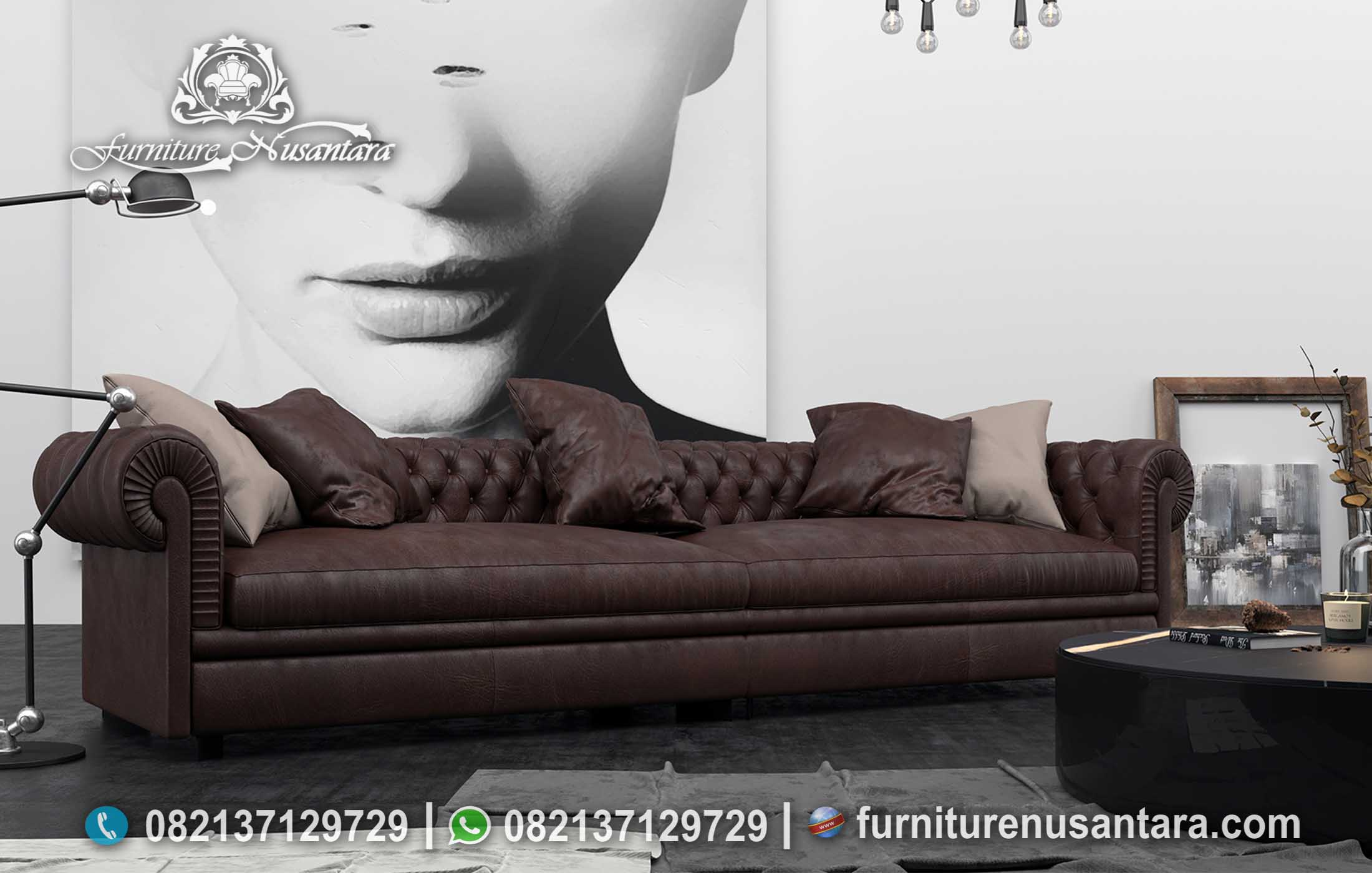 Sofa Minimalis Modern Warna Coklat ST-13, Furniture Nusantara