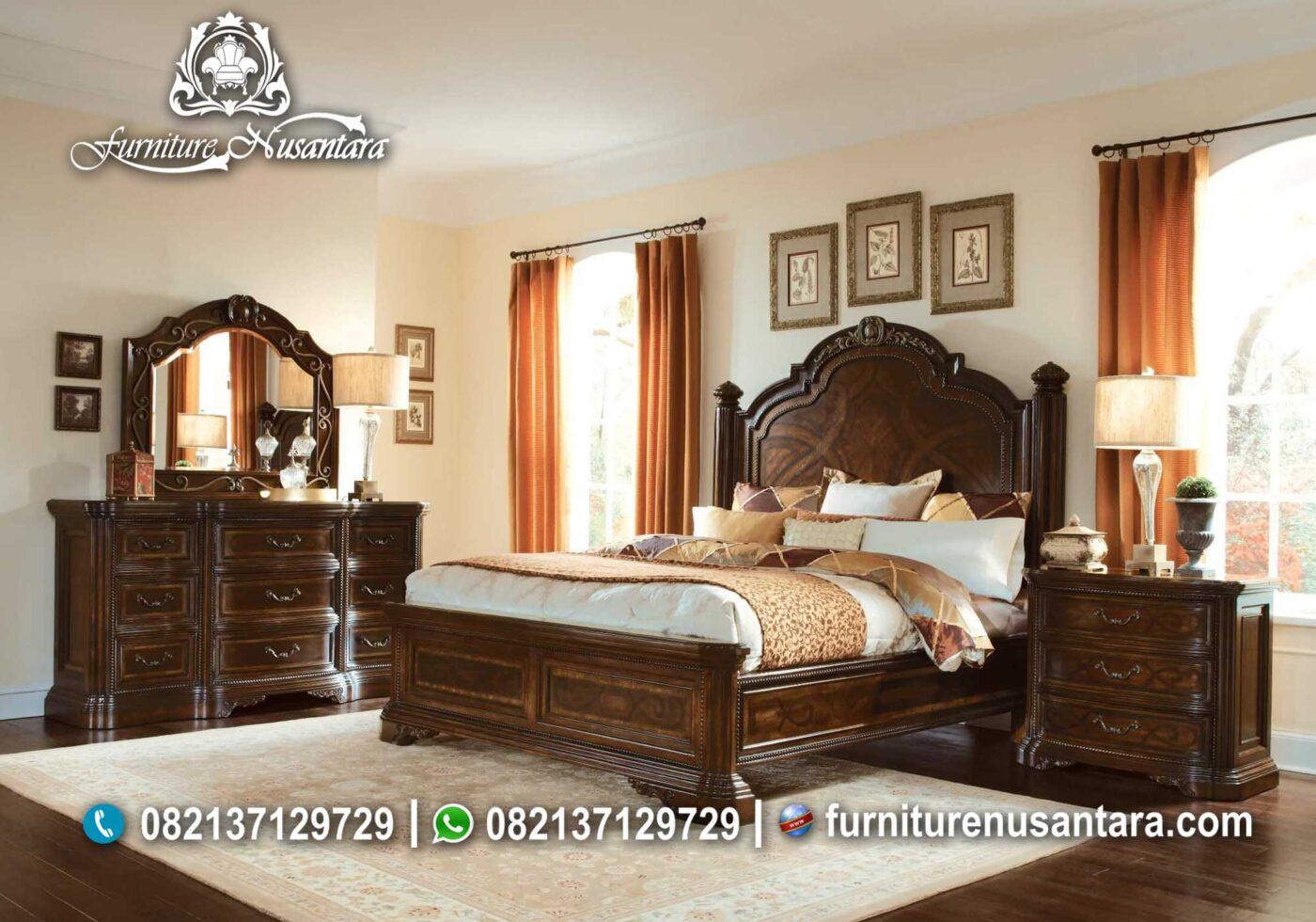 Kamar Set Jati Ukir Mewah KS-32, Furniture Nusantara