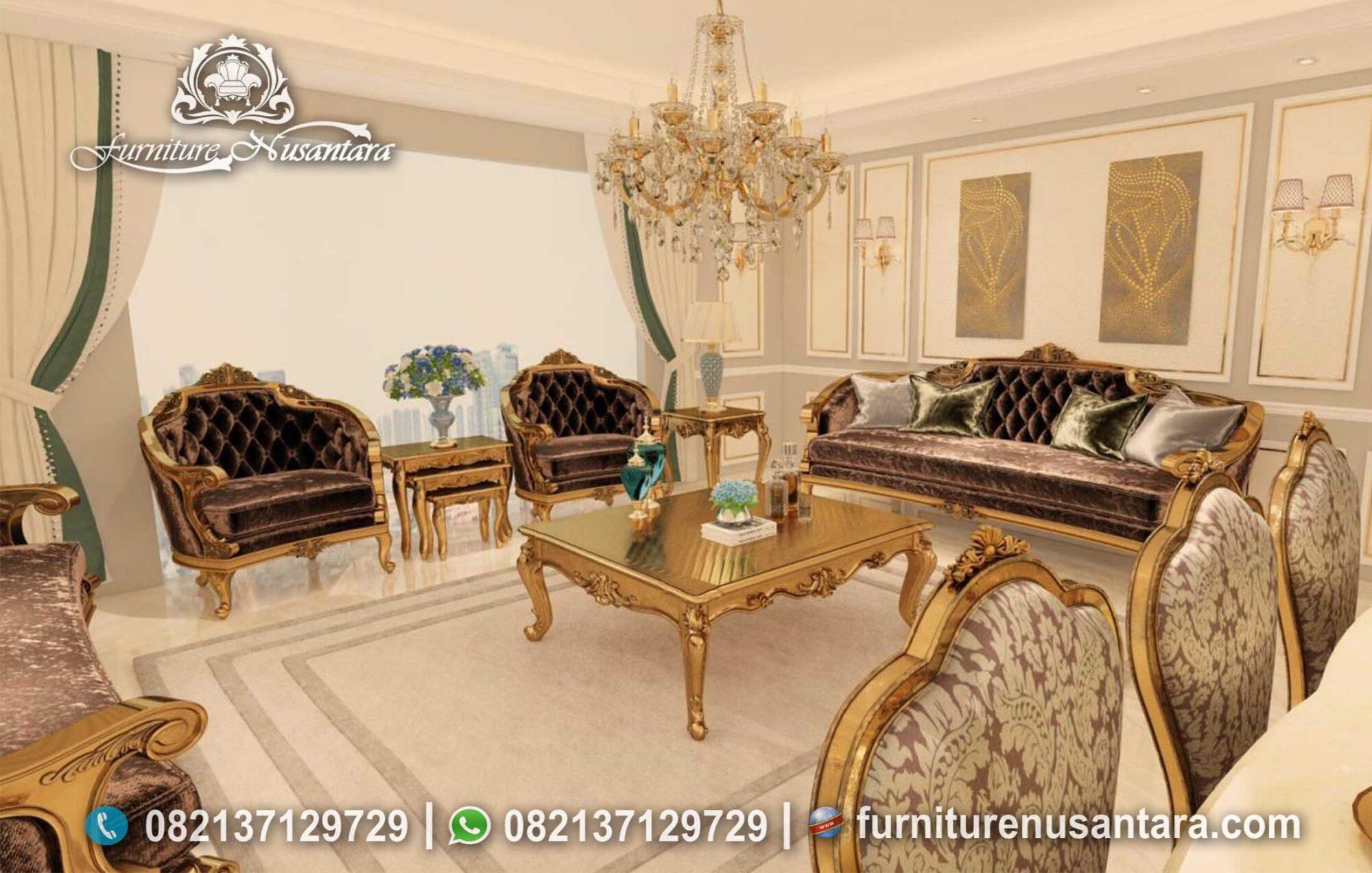 Sofa Ukir Jepara Mewah Warna Gold ST-14, Furniture Nusantara