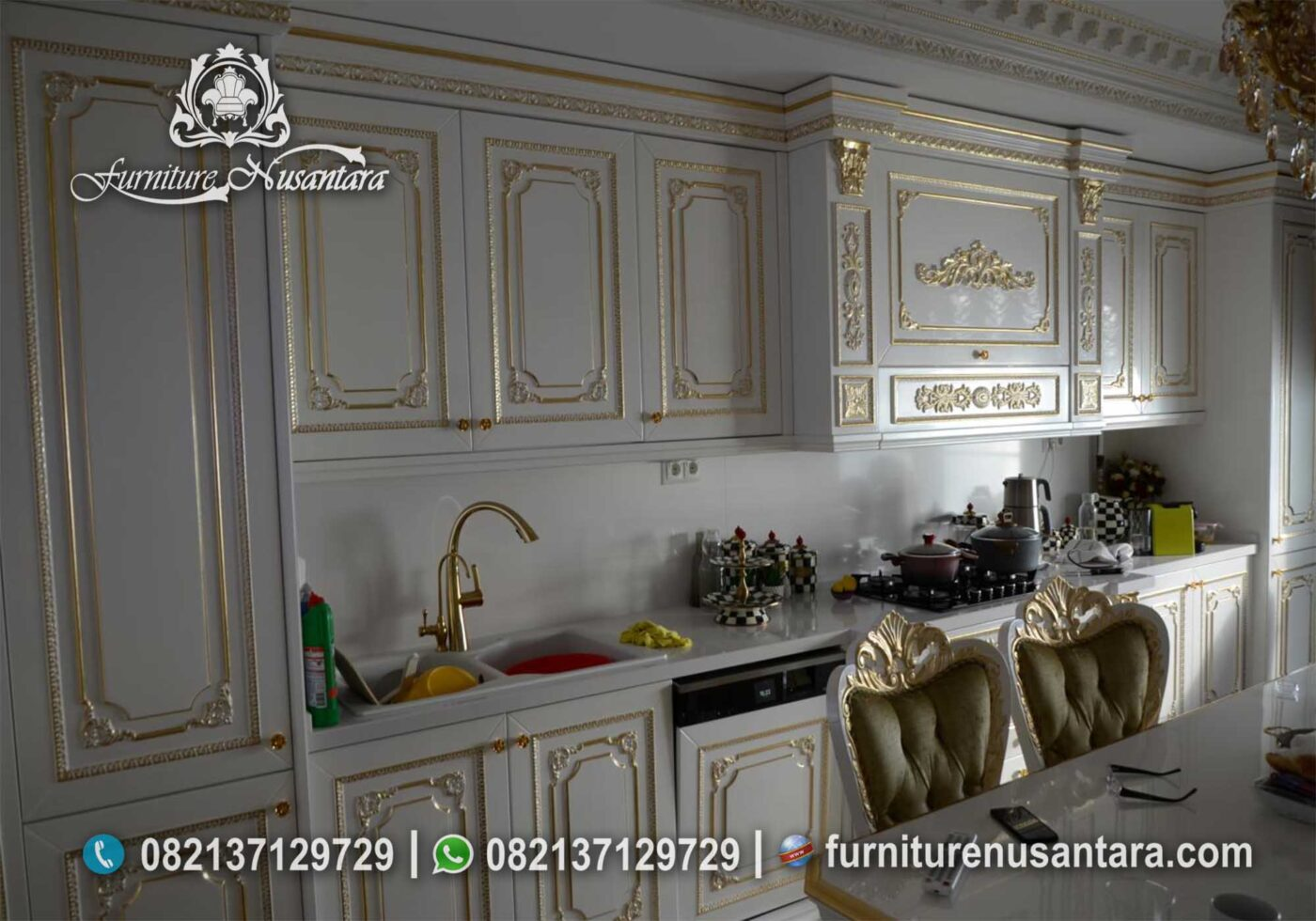 Kitchen Set Duco Putih Ukir Jepara KC-01, Furniture Nusantara