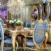 Meja Makan Gold Leaf Kombinasi Biru Laut MM-07