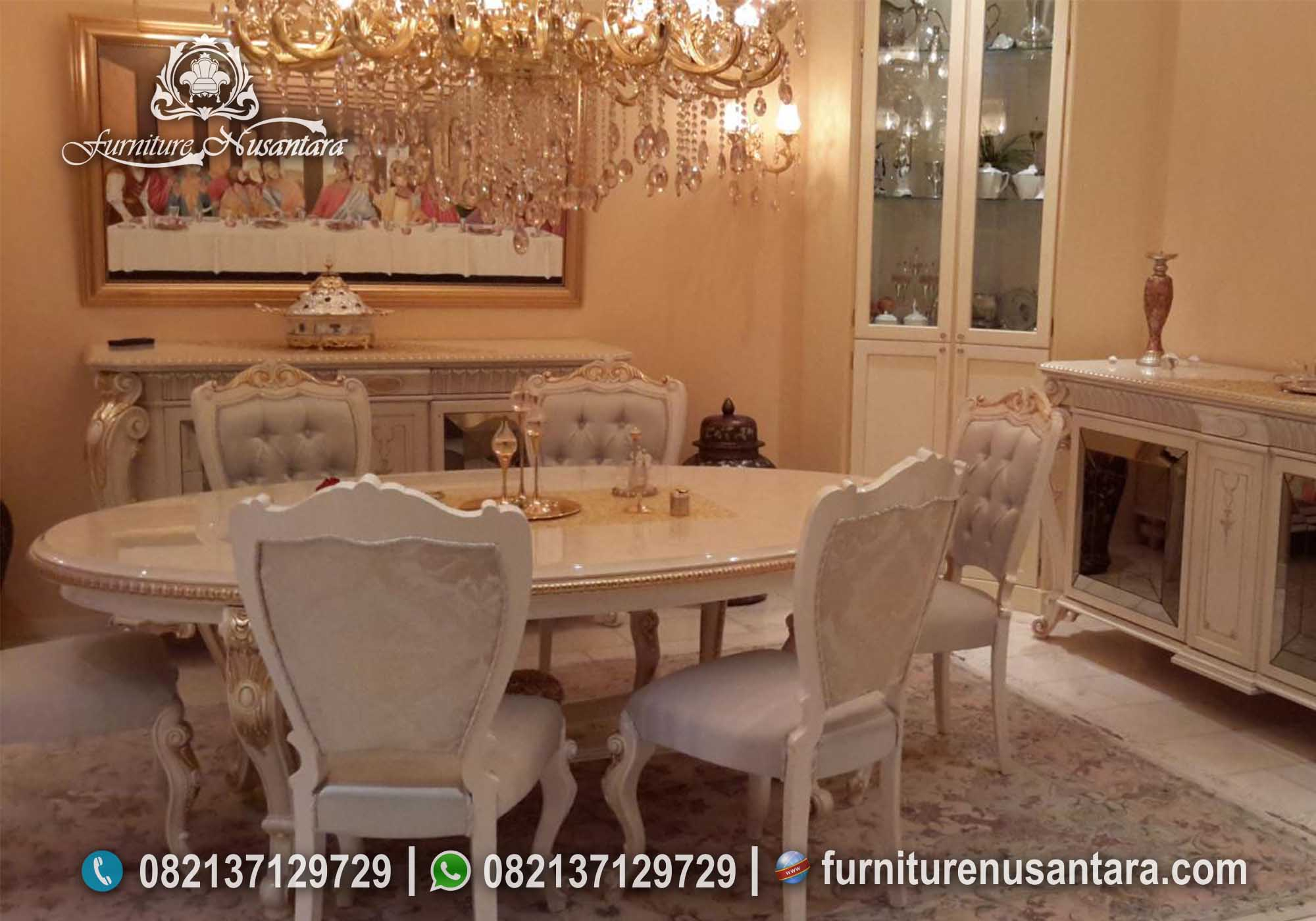 Jual Meja Makan Oval 6 Kursi Duco Putih MM-17, Furniture Nusantara