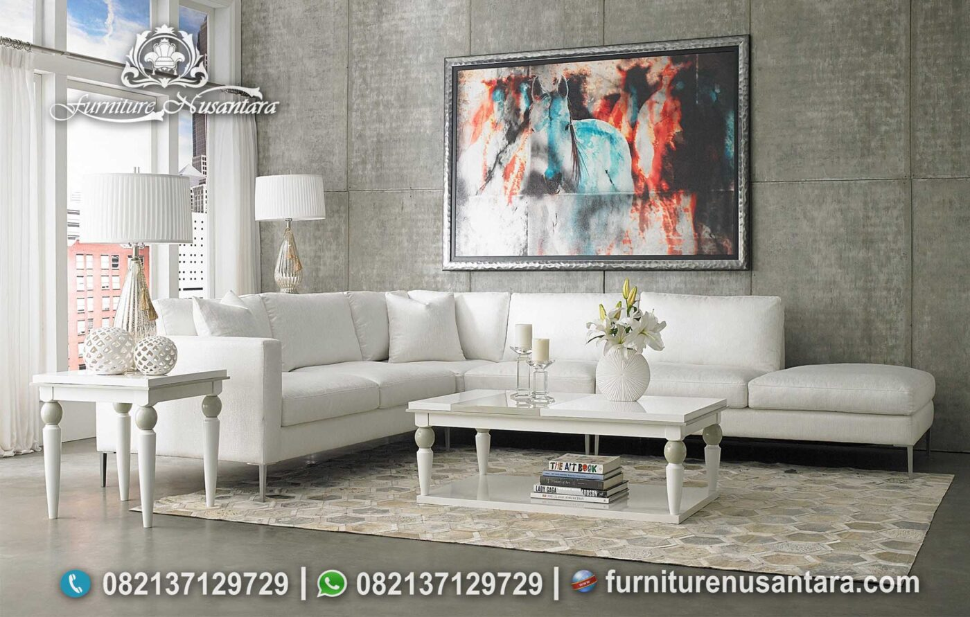 New Model Sofa L Modern Putih Terbaik ST-82, Furniture Nusantara