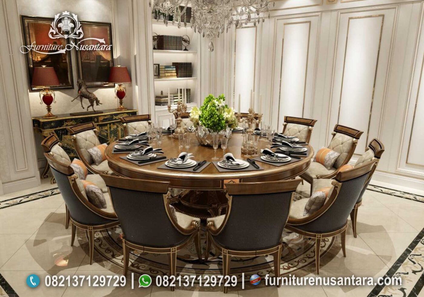 Meja Makan Bulat Natural Kayu Jati Terbaik MM-13, Furniture Nusantara