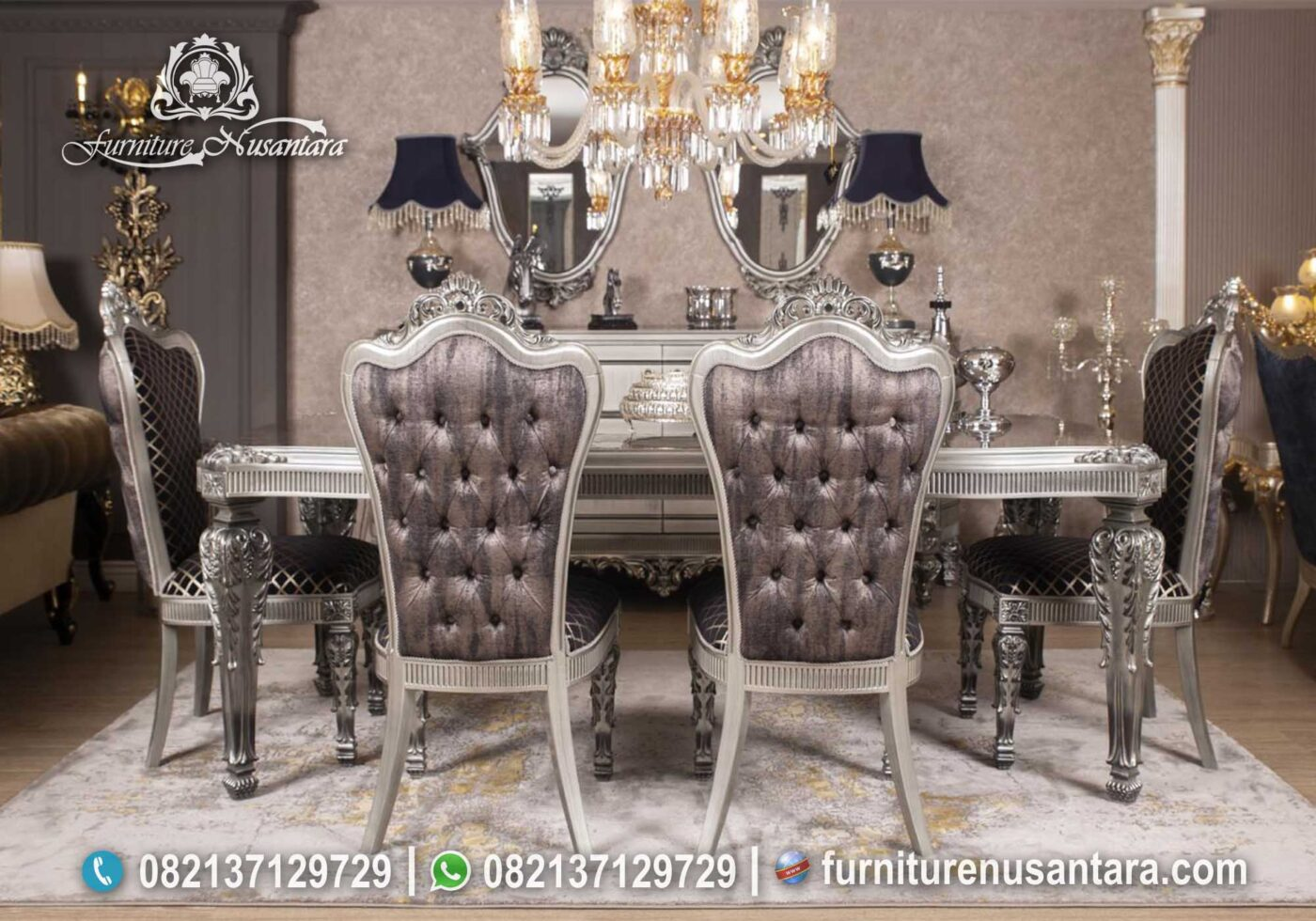 Set Meja Makan Silver Mewah MM-15, Furniture Nusantara