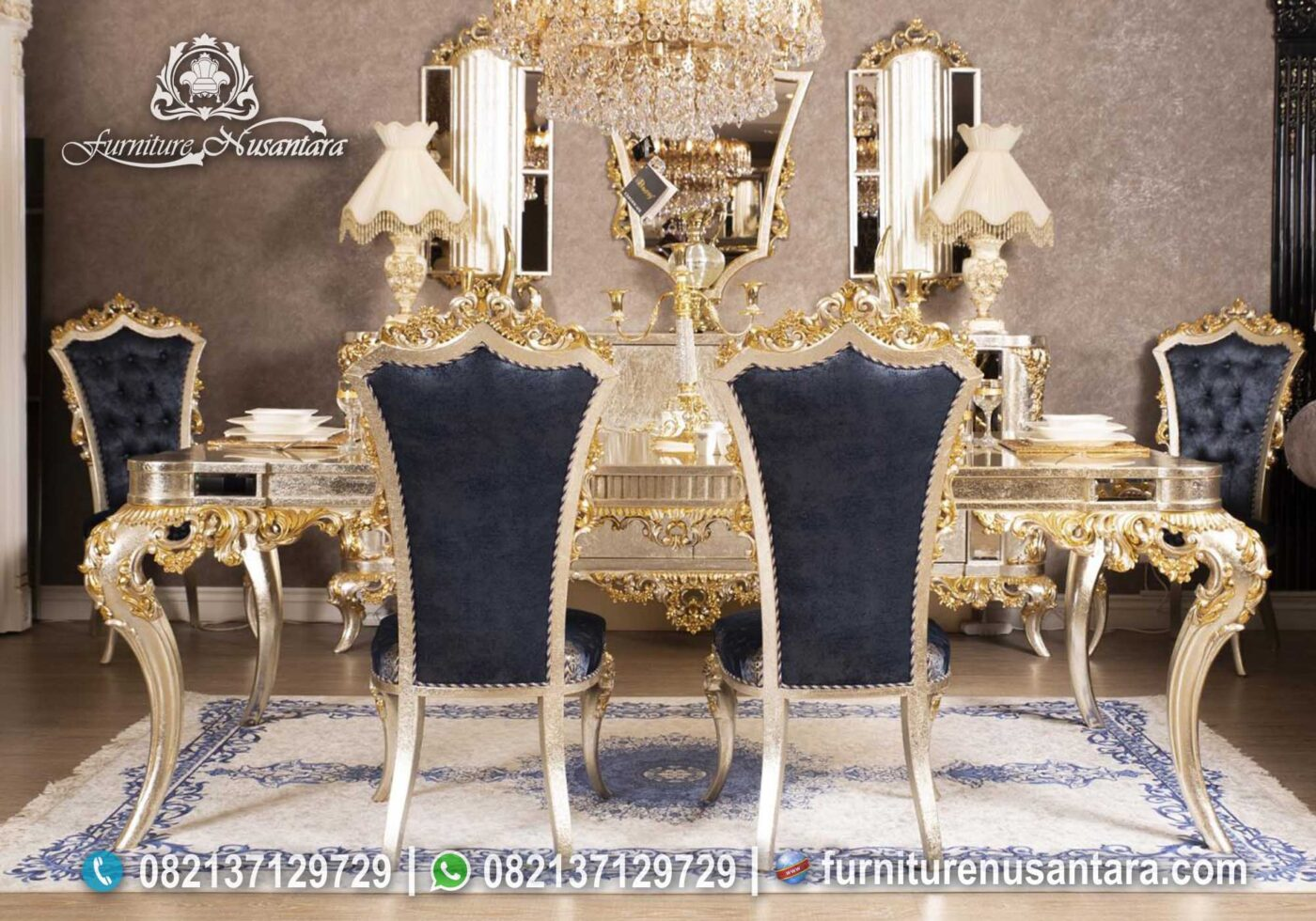 Set Meja Makan Luxury Gold Leaf MM-16, Furniture Nusantara