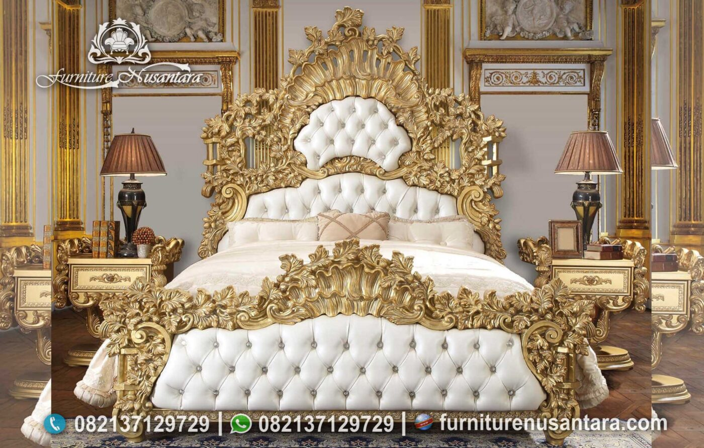 Tempat Tidur Ukir Gold Termewah Terbaik KS-178, Furniture Nusantara