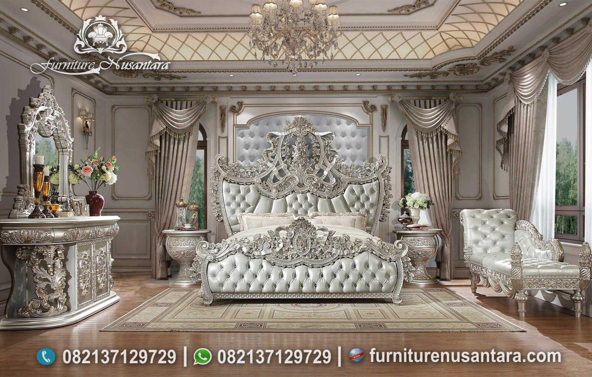 Tempat Tidur Klasik Metallic Silver Ukir Mewah KS-181, Furniture Nusantara