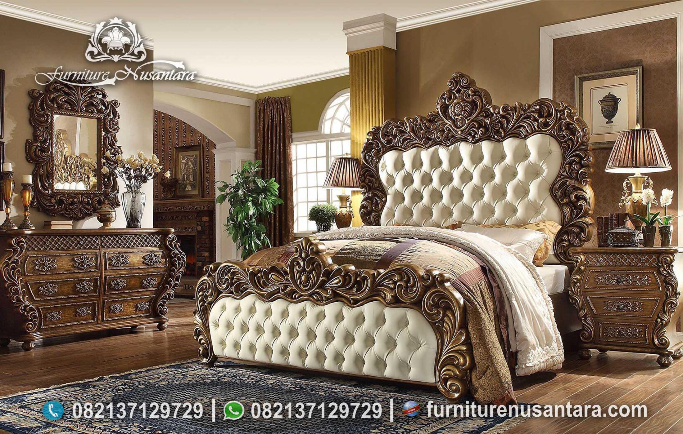 Set Tempat Tidur Ukir Jepara Mewah KS-183, Furniture Nusantara