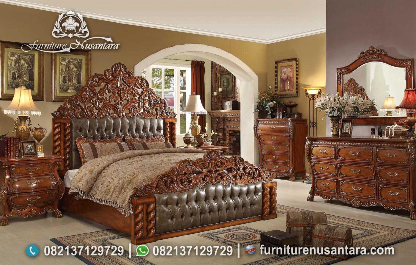 Set Kamar Tidur Kayu Jati Natural KS-191, Furniture Nusantara