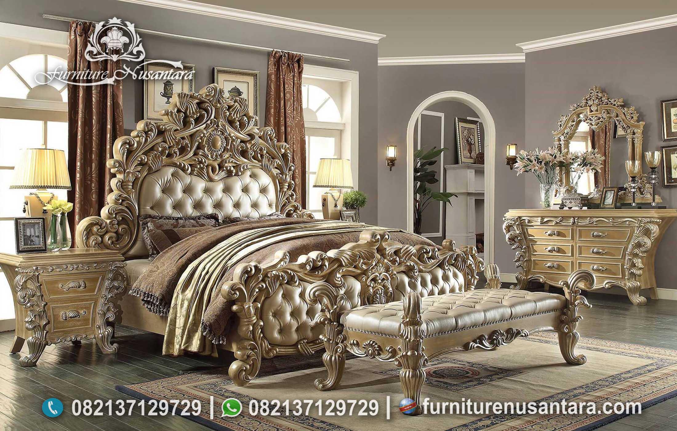Tempat Tidur Full Ukir Luxury Terpopuler KS-190, Furniture Nusantara