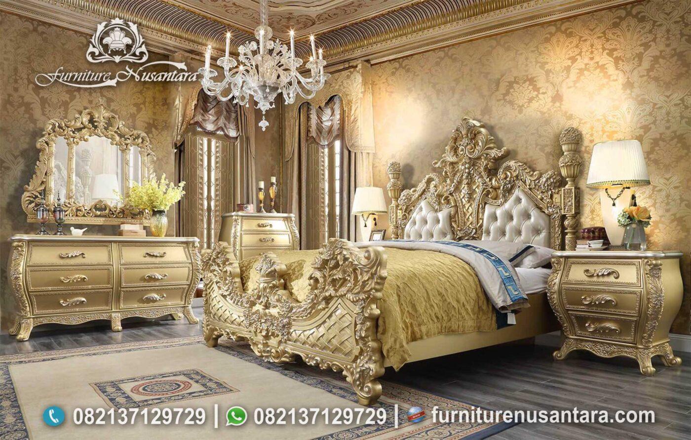 Tempat Tidur Klasik Ukir Terbaik Gold Leaf KS-185, Furniture Nusantara