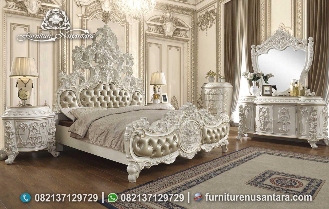 Tempat Tidur Raja Ukir Putih Mutiara KS-187, Furniture Nusantara
