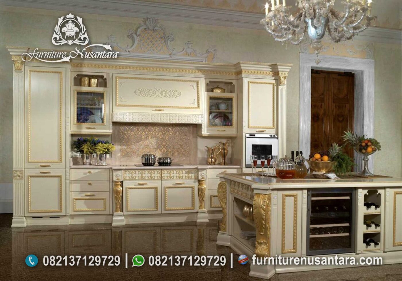 Kitchen Set Warna Cream kombinasi Emas KC-02, Furniture Nusantara