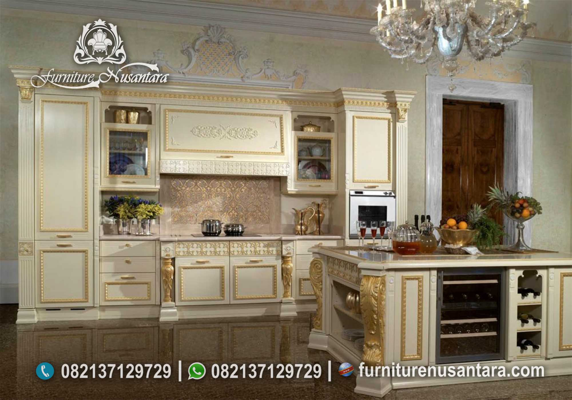 Kitchen Set Warna Cream kombinasi Emas KC-02, Furniture Nusantara