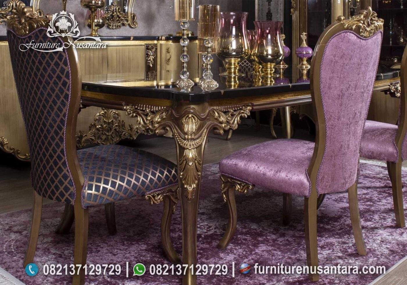 Meja Makan Nuansa Ungu Top Marmer MM-20, Furniture Nusantara