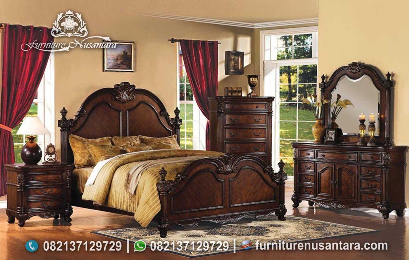 Set Kamar Klasik Kayu Jati Natural KS-212, Furniture Nusantara