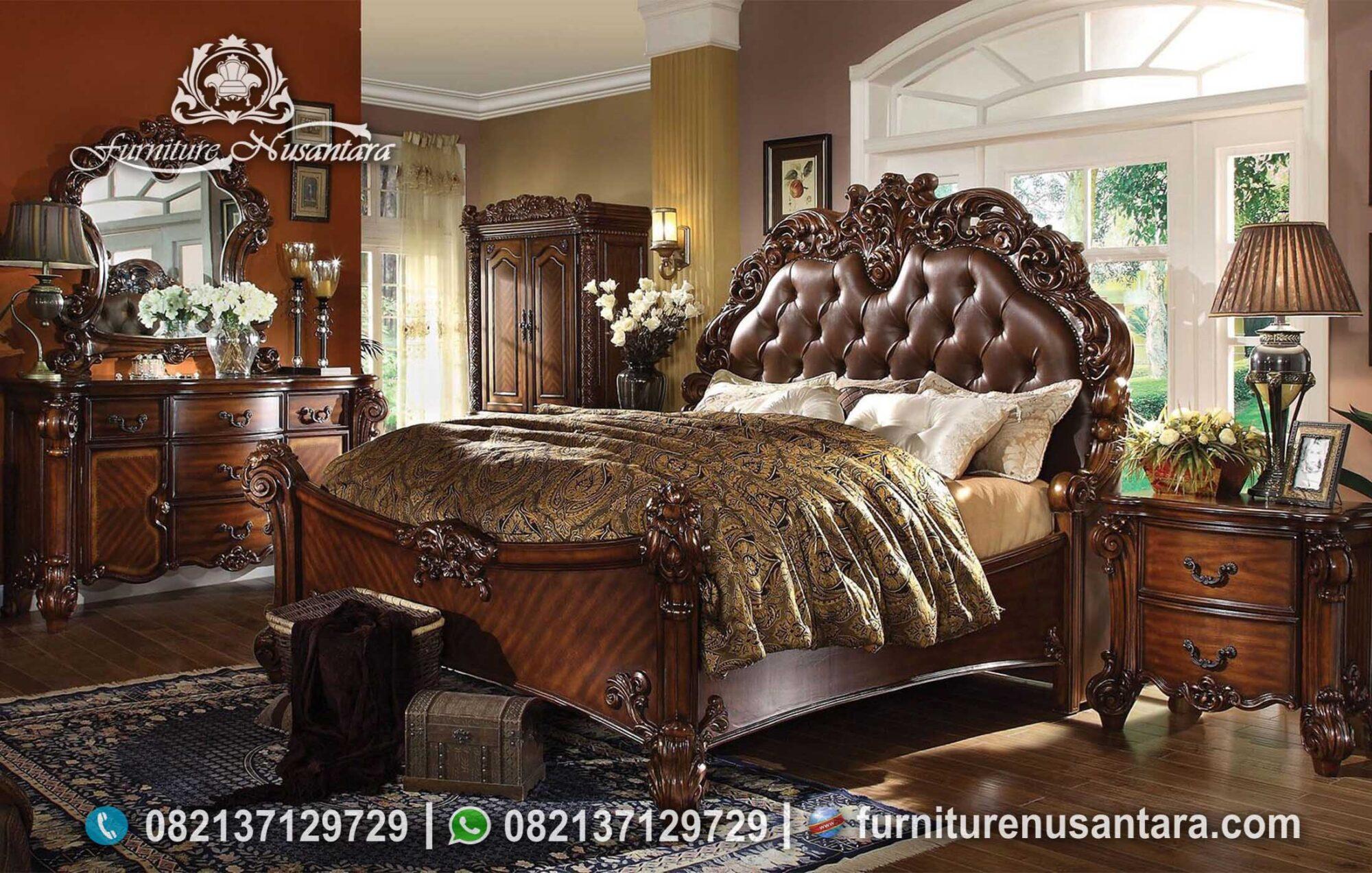 Desain Tempat Tidur Ukir Coklat KS-216, Furniture Nusantara