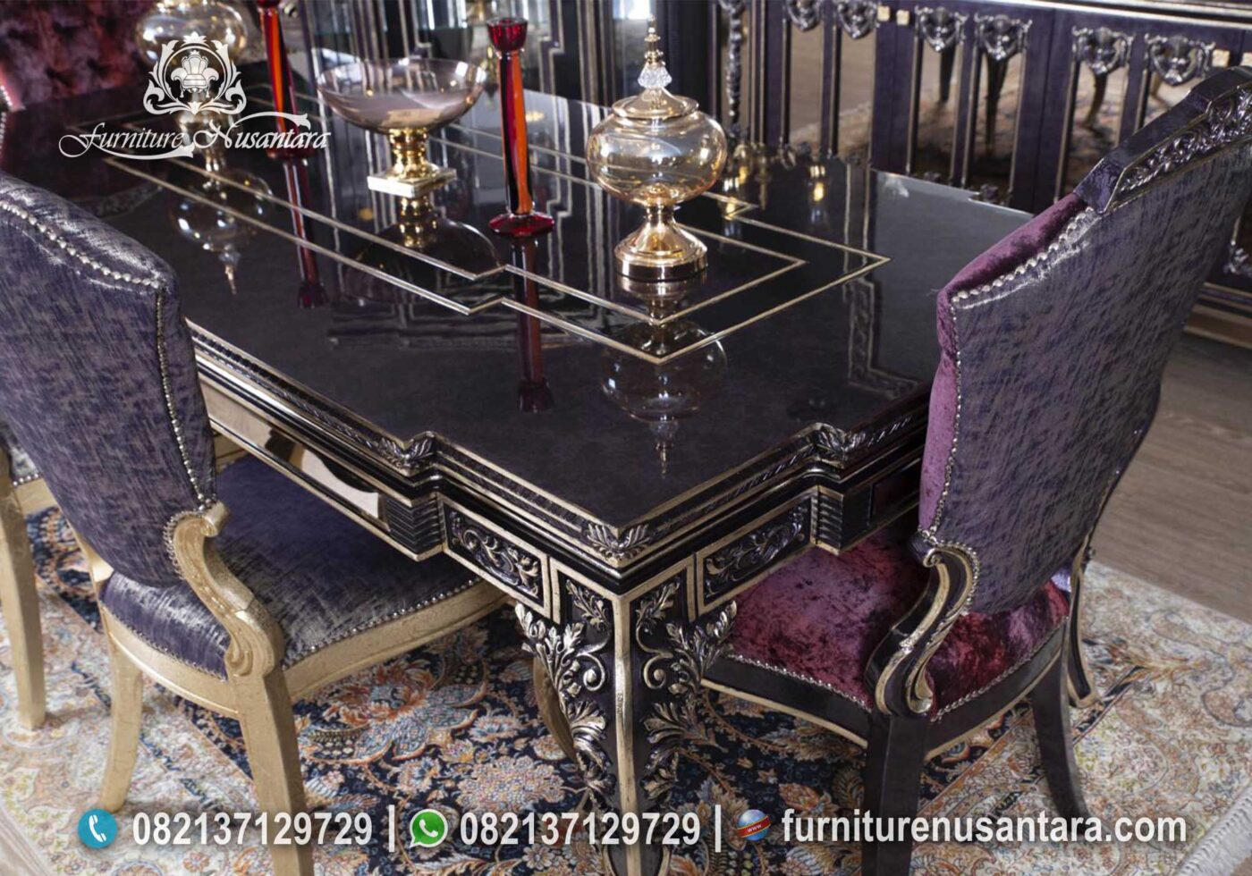 Meja Makan Warna Ungu Klasik Luxury MM-23, Furniture Nusantara