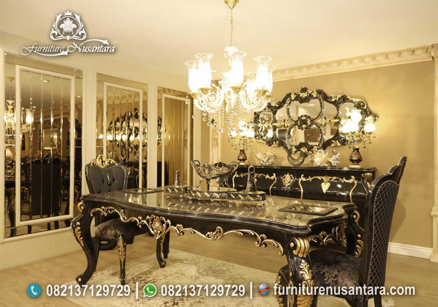 Meja Makan Klasik Black Colour Terbaik MM-25, Furniture Nusantara