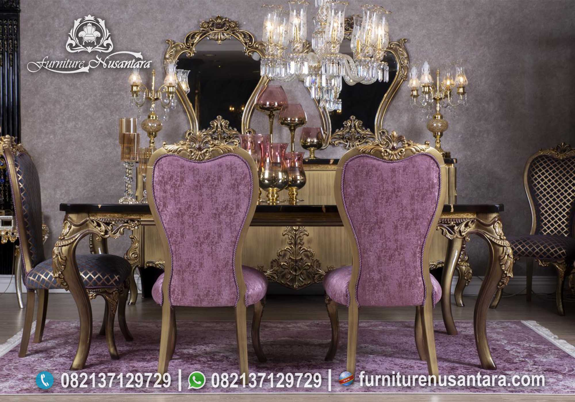 Meja Makan Nuansa Ungu Top Marmer MM-20, Furniture Nusantara
