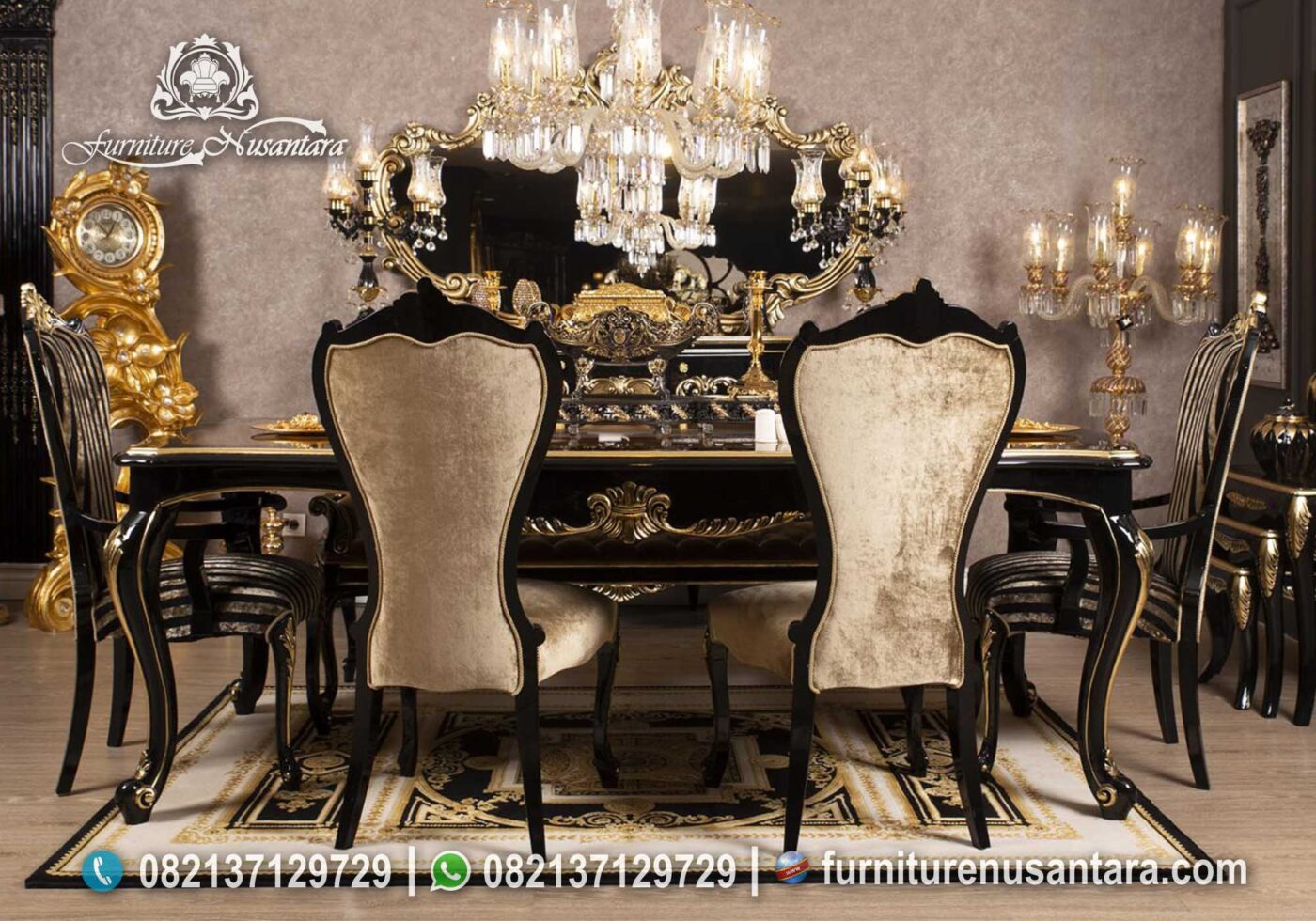 Meja Makan Black Matte Gold Colour MM-26, Furniture Nusantara