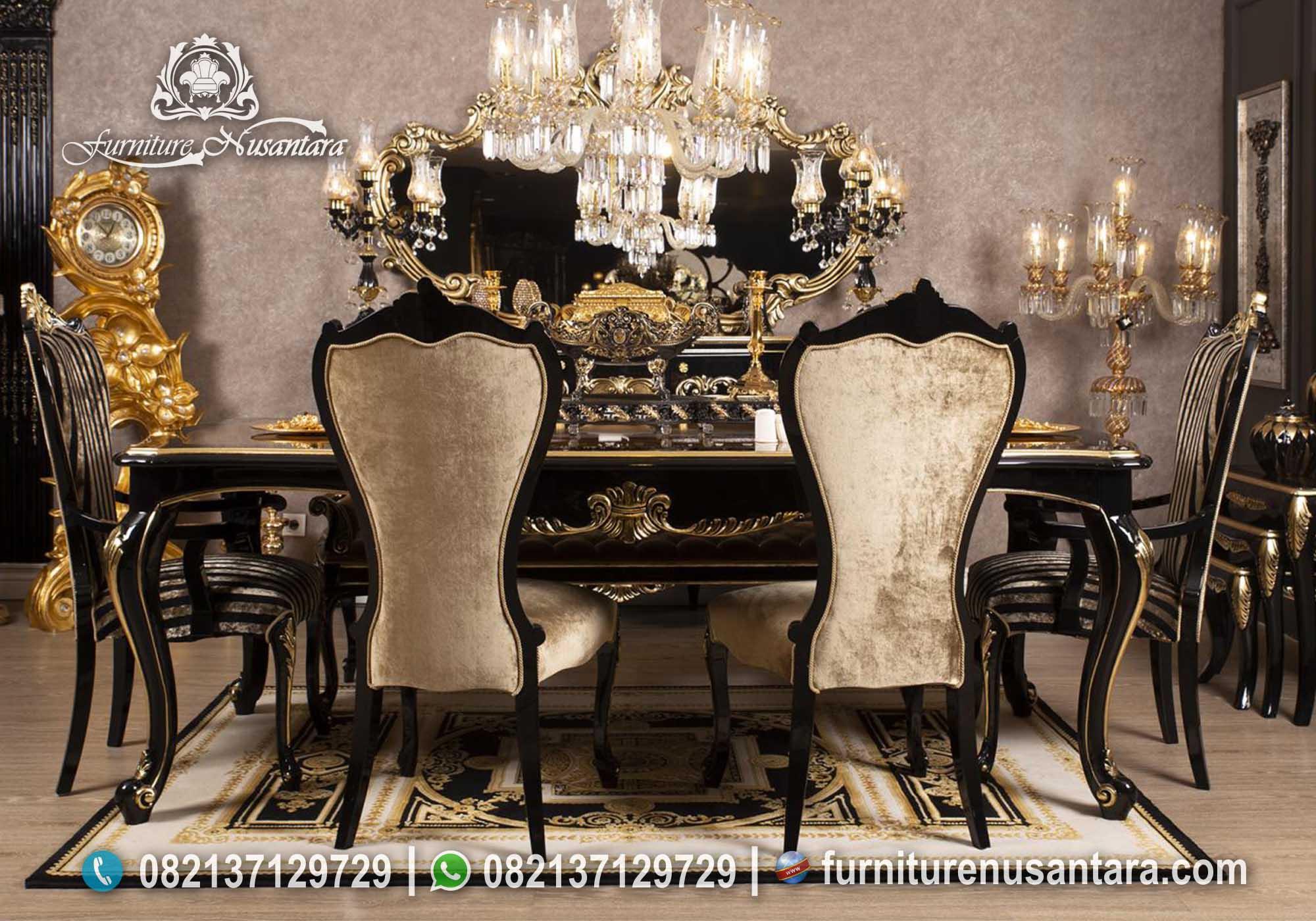 Meja Makan Black Matte Gold Colour MM-26, Furniture Nusantara