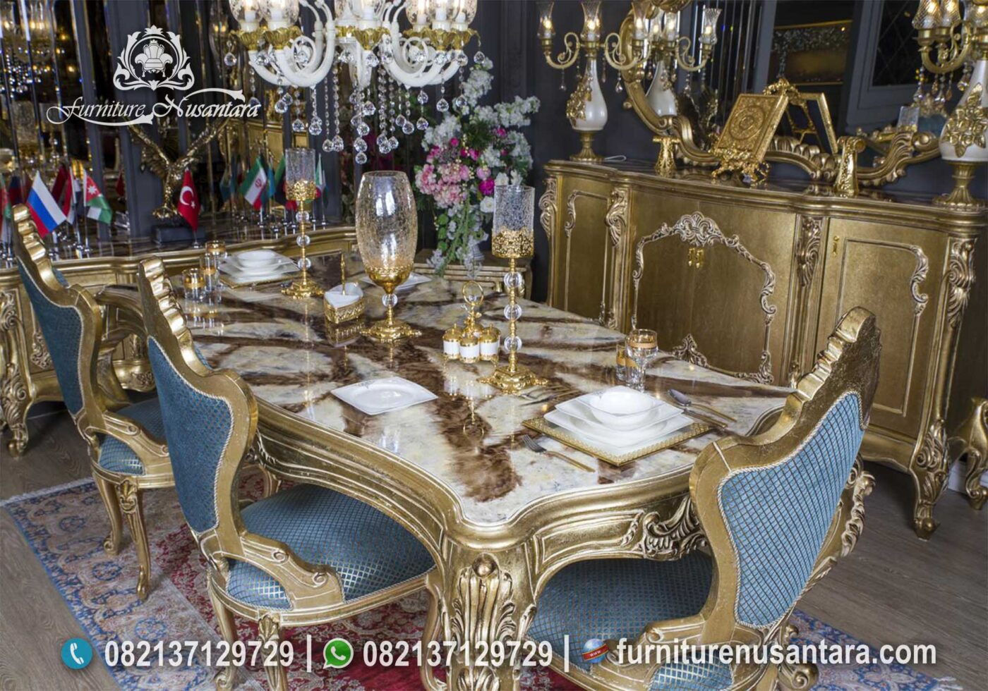 Jual Set Meja Makan Gold Timur Tengah MM-27, Furniture Nusantara