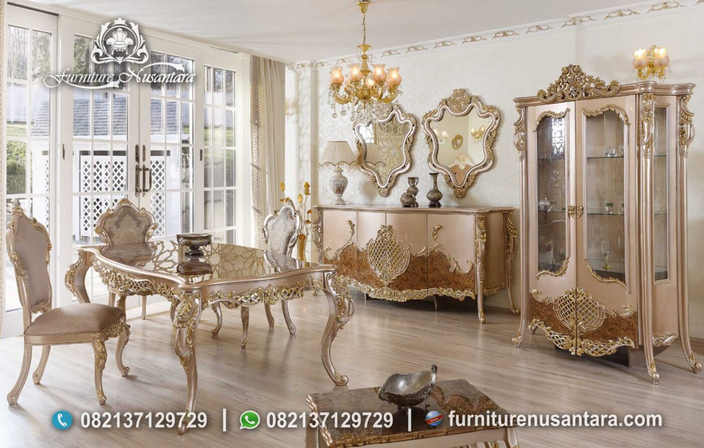 Meja Makan Klasik Mewah Modern Terbaru MM-05, Furniture Nusantara