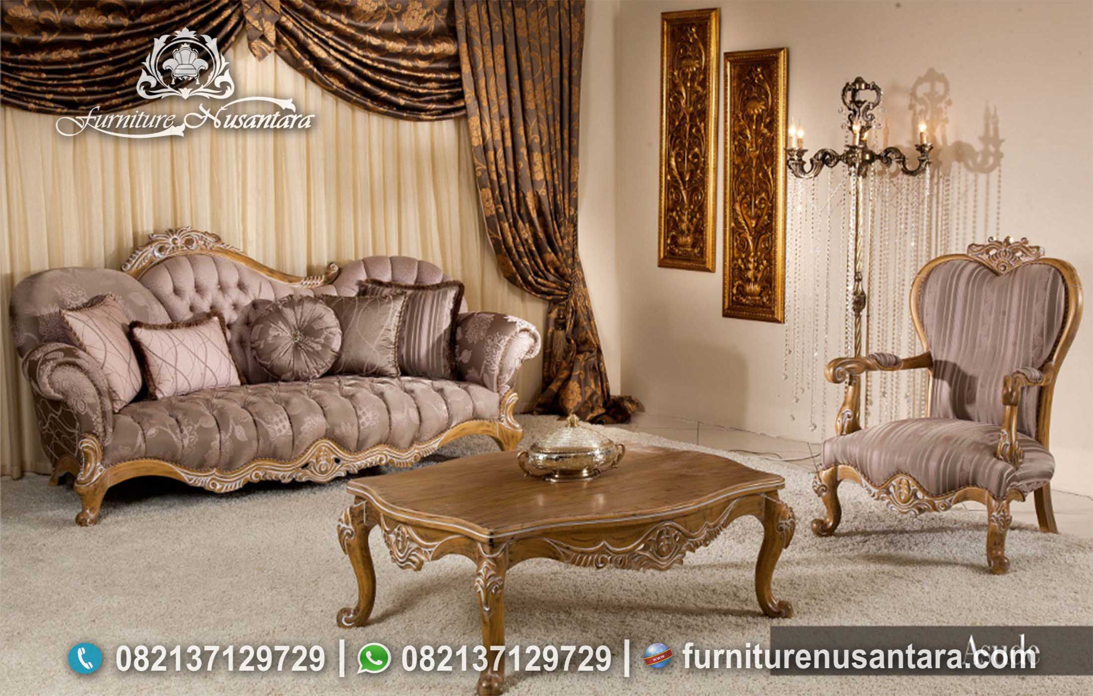 Sofa Ukir Jati Natural Modern ST-42, Furniture Nusantara