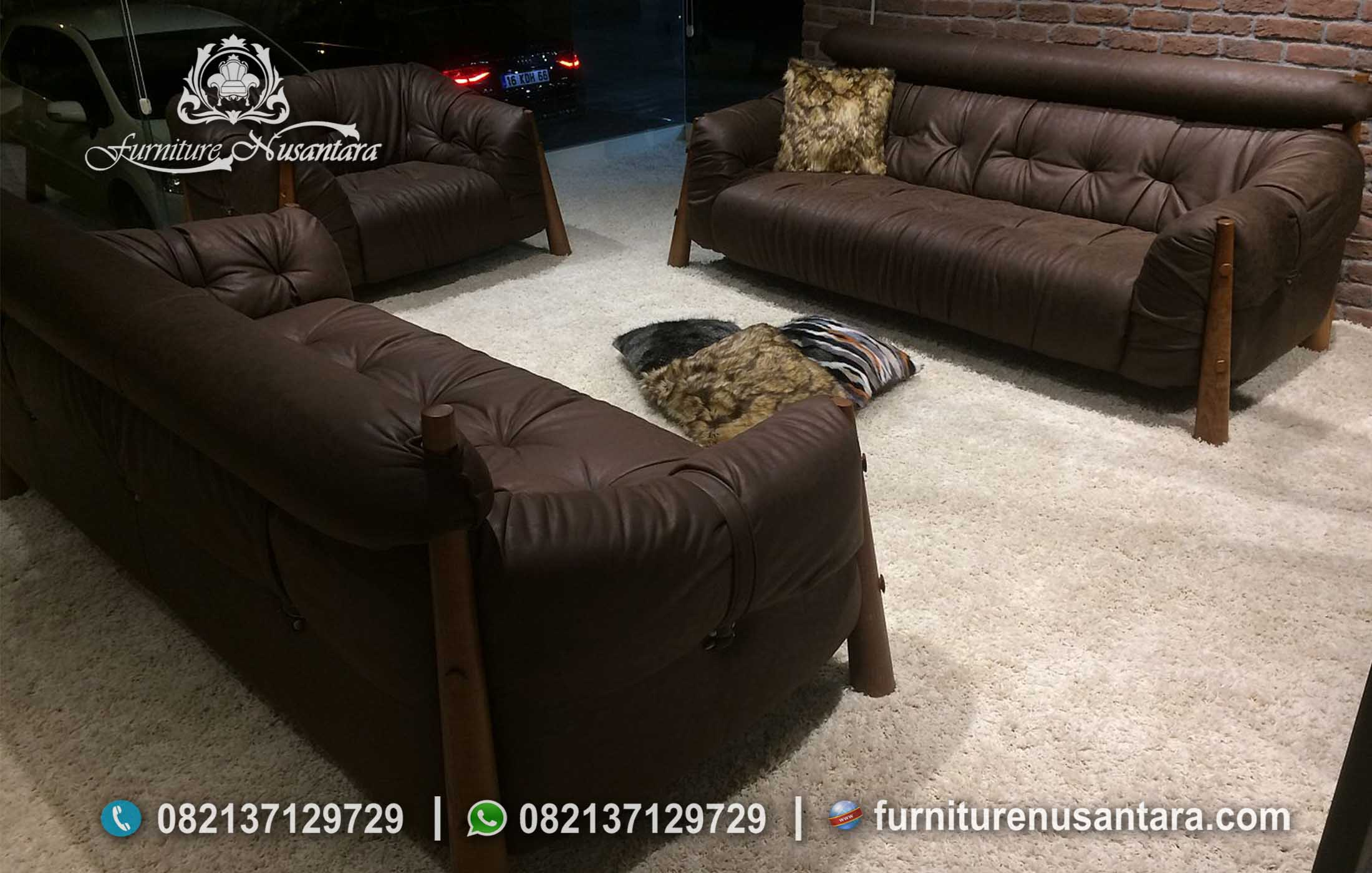 Sofa Tamu Sederhana Warna Coklat ST-64, Furniture Nusantara