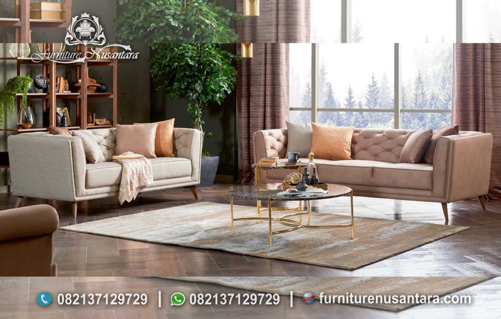 Desain Interior Ruang Tamu Soft Colour ST-63, Furniture Nusantara