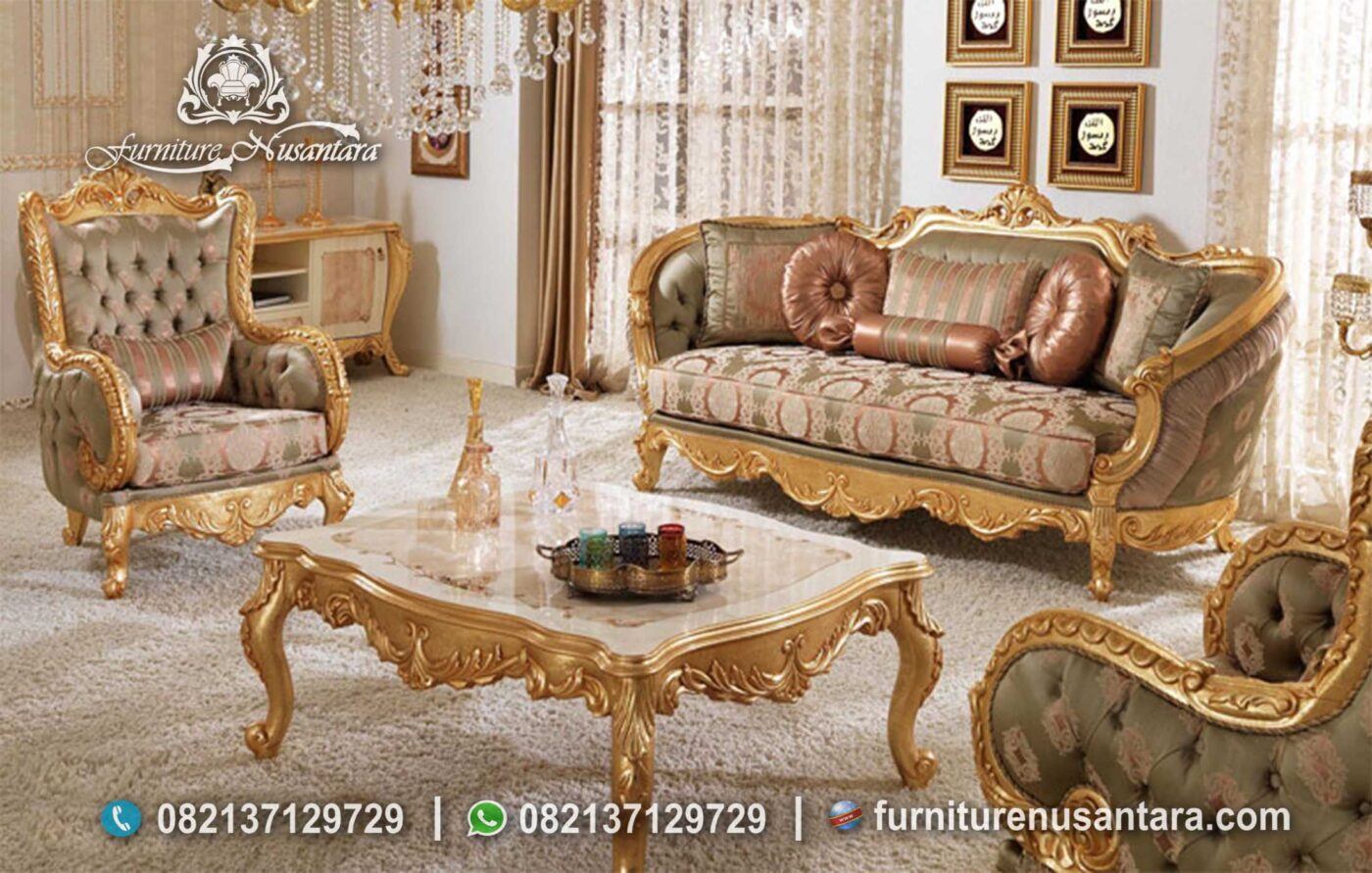 Sofa Klasik Luxury Gold Colour ST-57, Furniture Nusantara