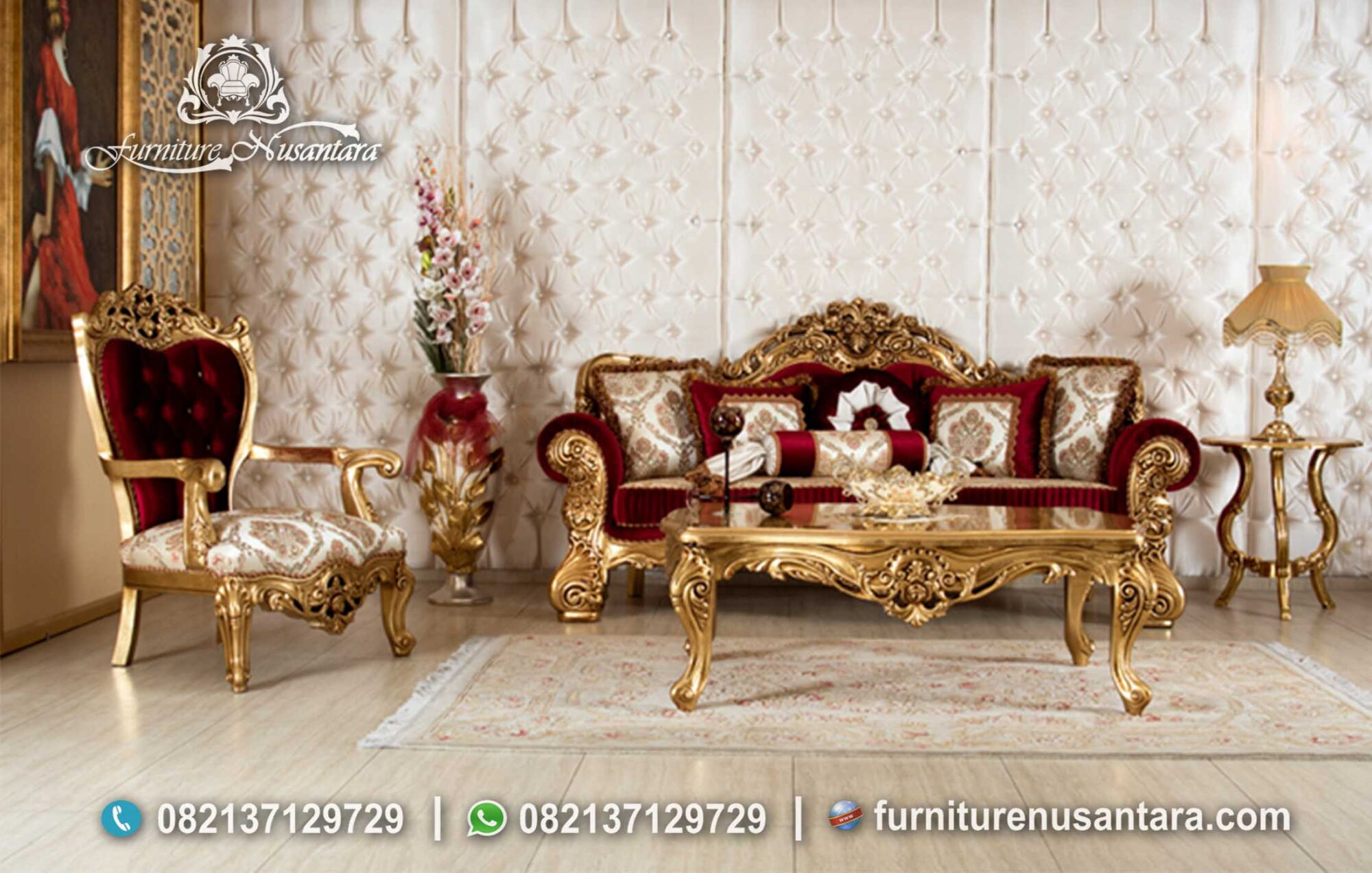 Best Sofa Warna Merah Ukiran Emas ST-58, Furniture Nusantara