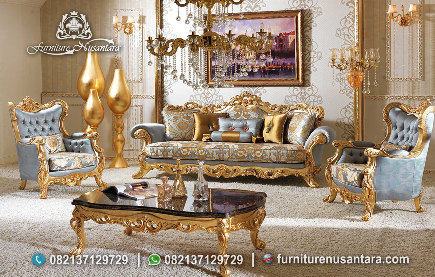 Sofa Luxury Warna Goald Termewah ST-71, Furniture Nusantara