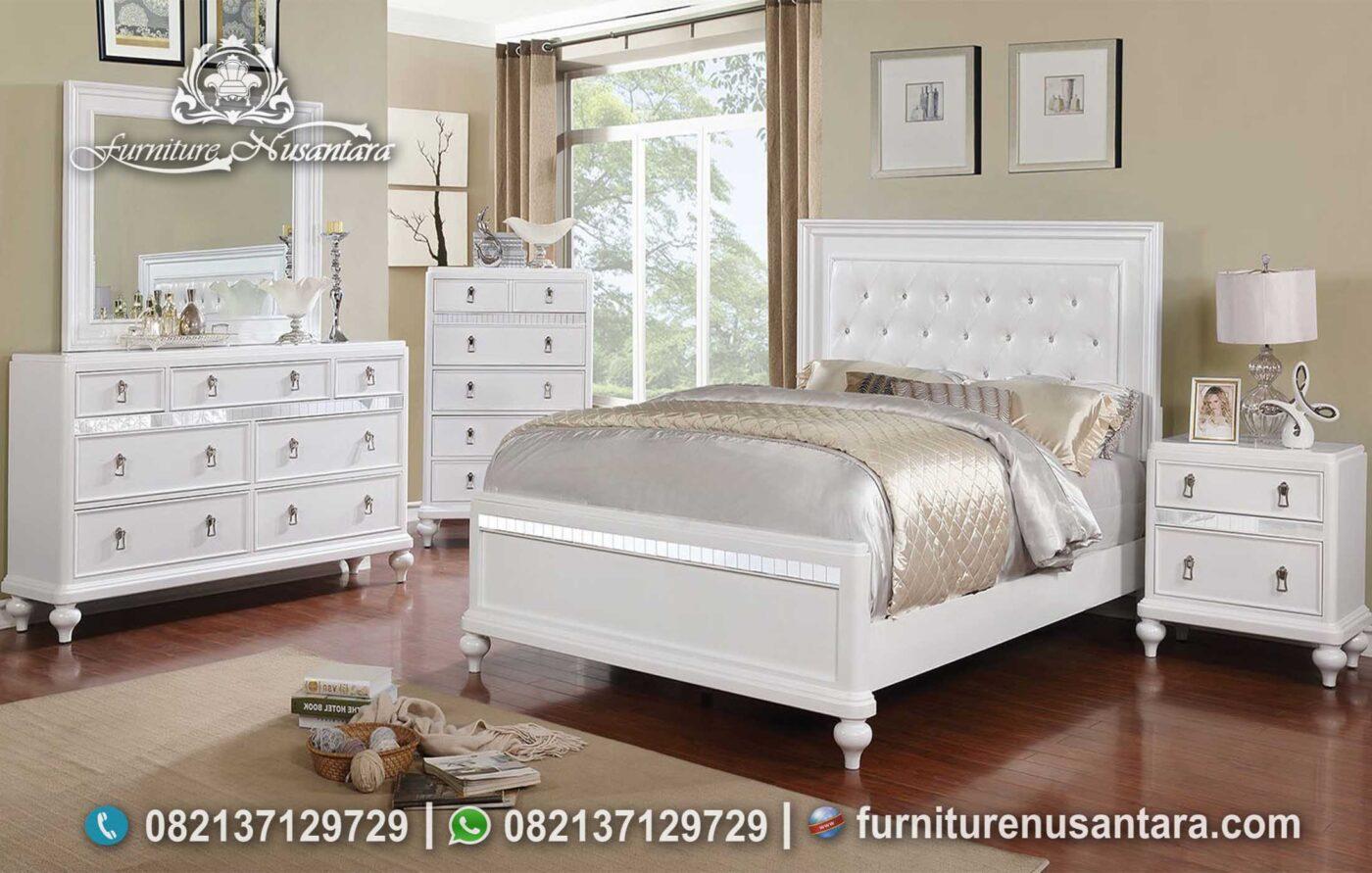 Jual Tempat Tidur Minimalis Kayu Solid Putih KS-220, Furniture Nusantara