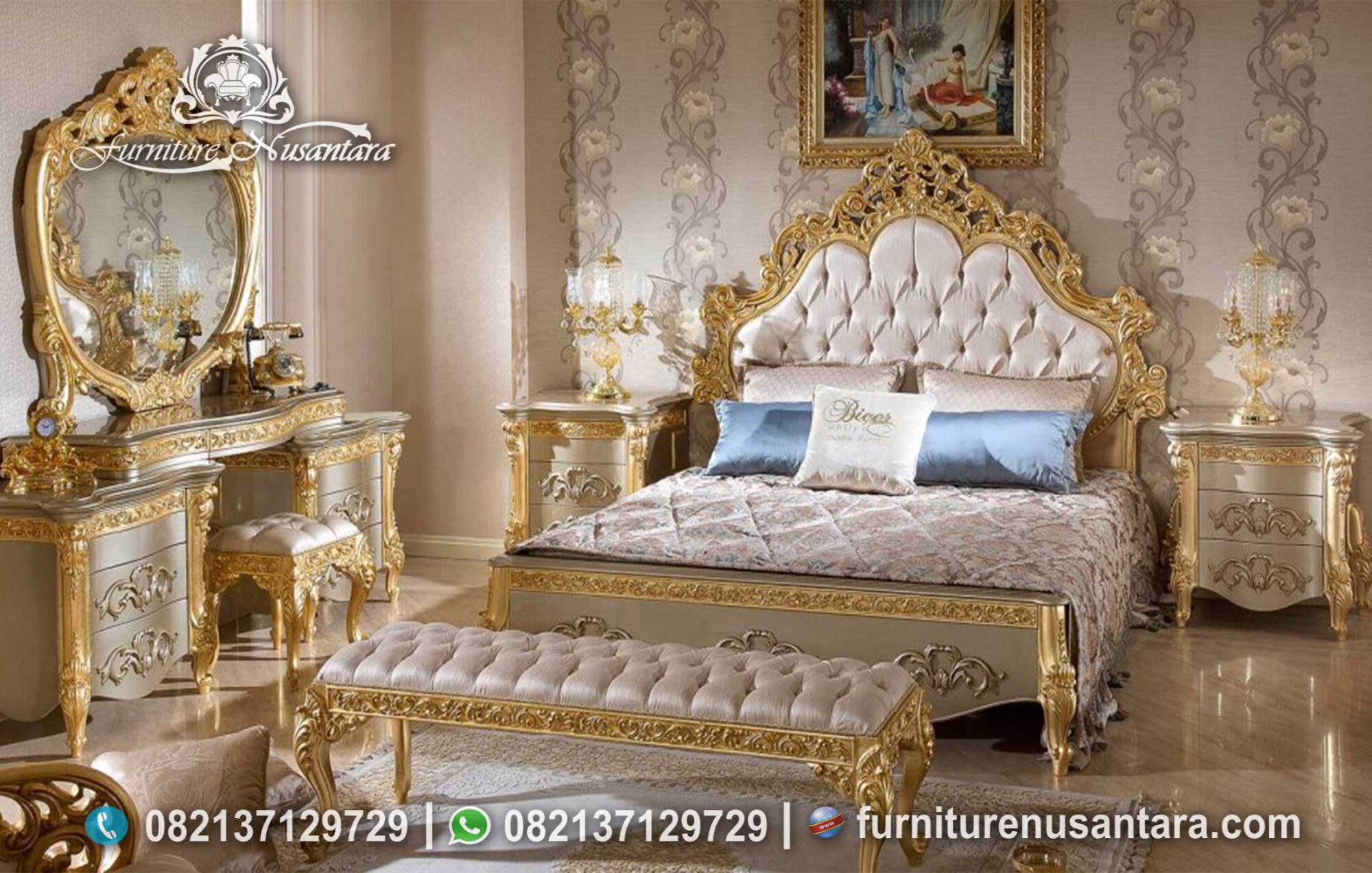 Kamar Set Klasik Gold Leaf Mewah KS-227, Furniture Nusantara