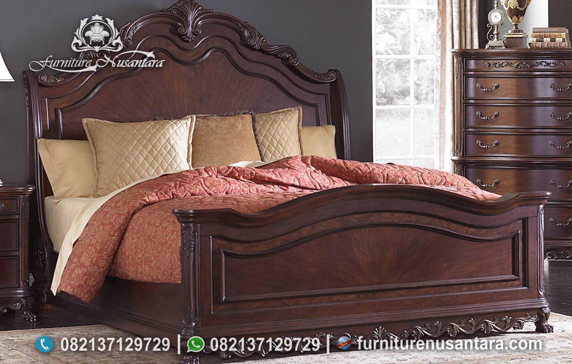 Jual Tempat Tidur Klasik Minimalis Kayu Jati KS-242, Furniture Nusantara