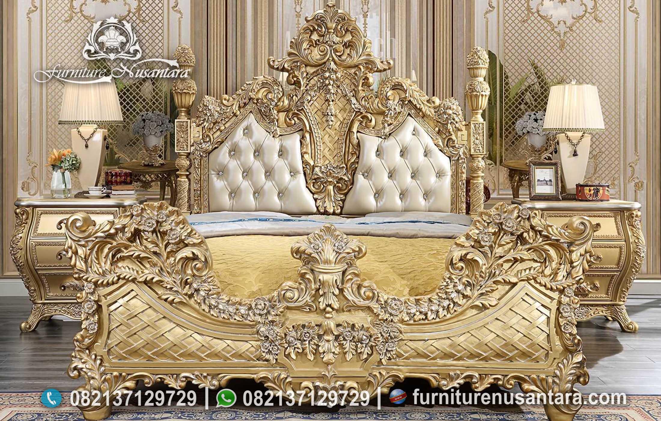Tempat Tidur Luxury Gold Leaf Terbaik KS-245, Furniture Nusantara