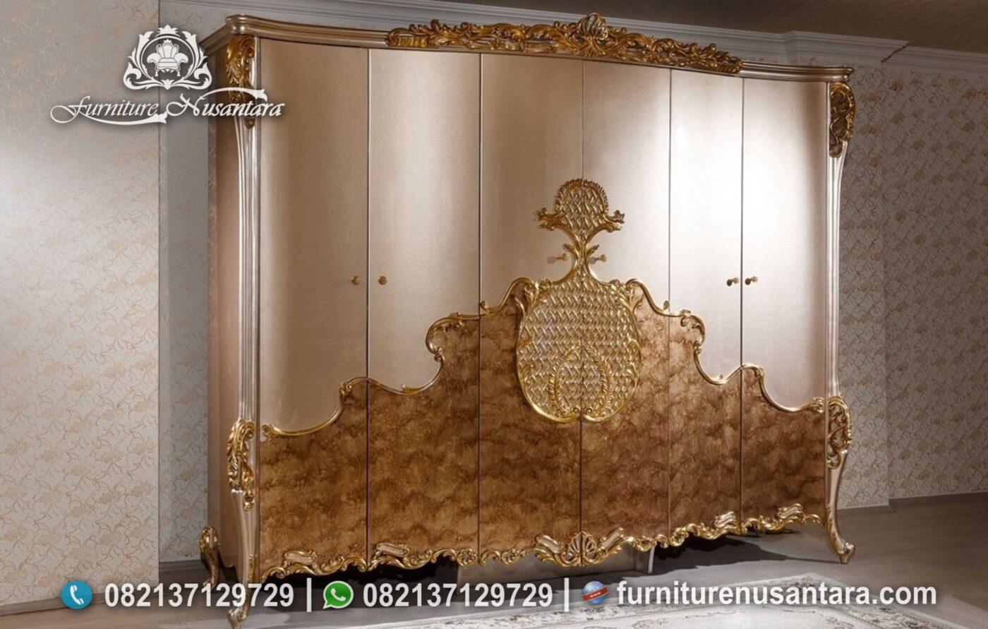 Tempat Tidur Warna Emas Ukir Mewah KS-255, Furniture Nusantara
