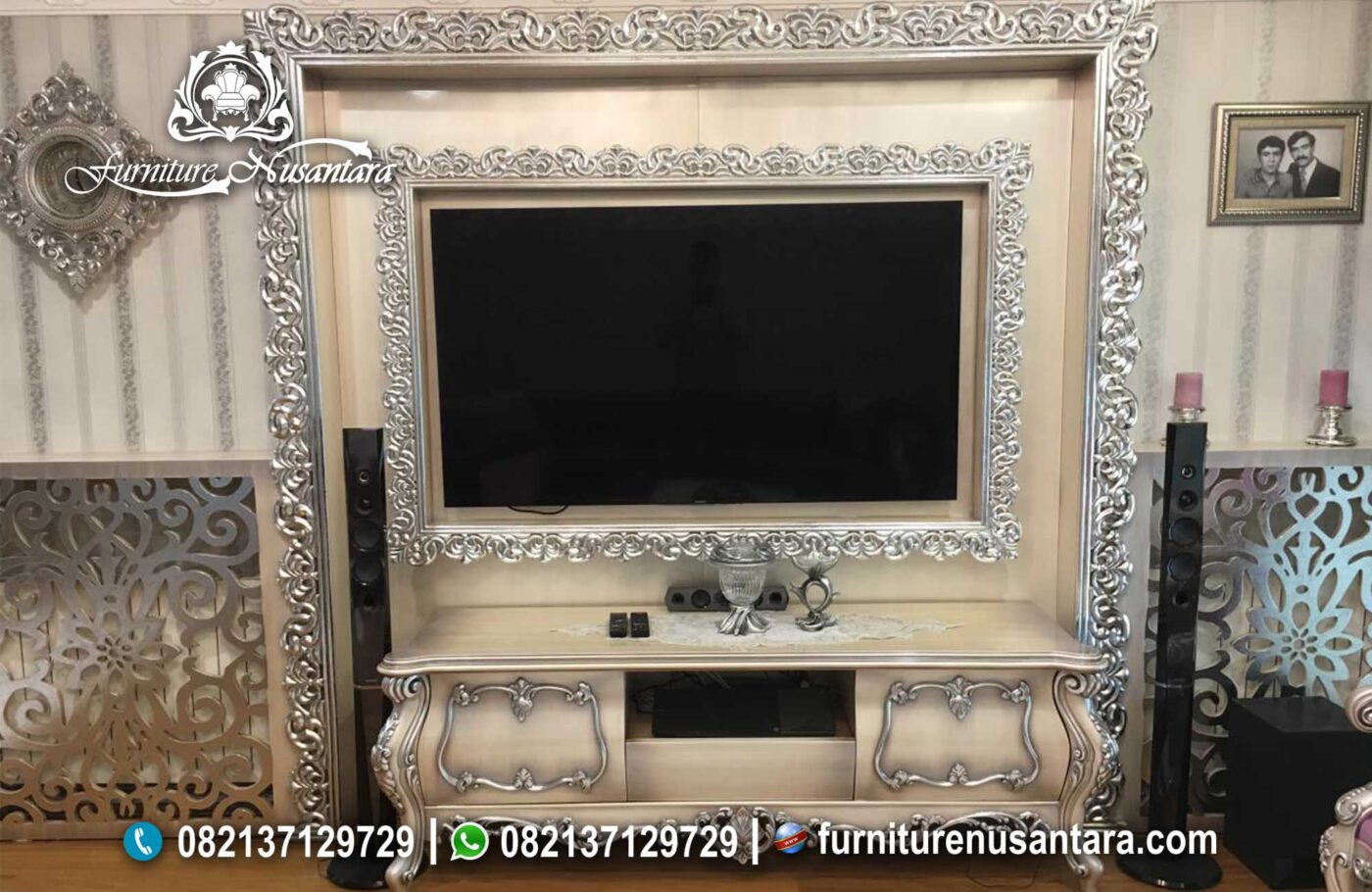 Jual Backdrop TV Ukir Jepara Cream Silver BTV-01