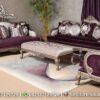 Sofa Tamu Ukir Klasik Warna Ungu ST-90, Furniture Nusantara