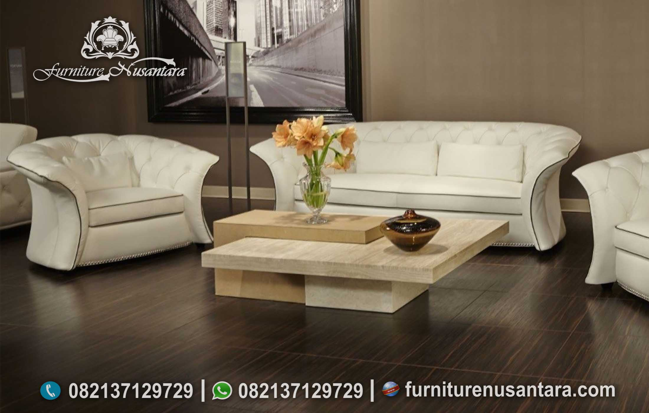 Sofa Tamu Minimalis Simple Warna Putih ST-93, Furniture Nusantara