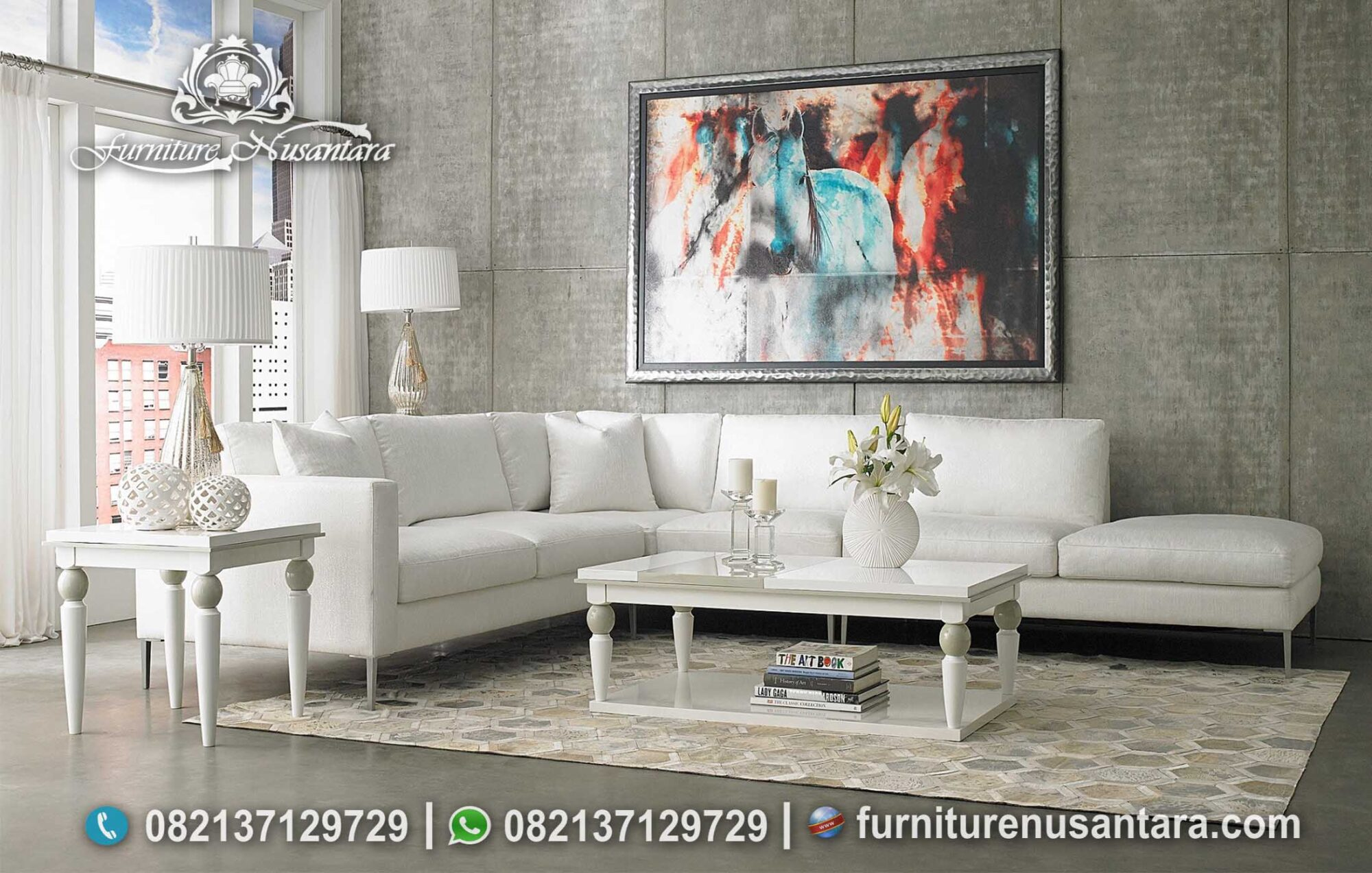 Sofa Sudut Minimalis White Colour Elegan ST-96, Furniture Nusantara