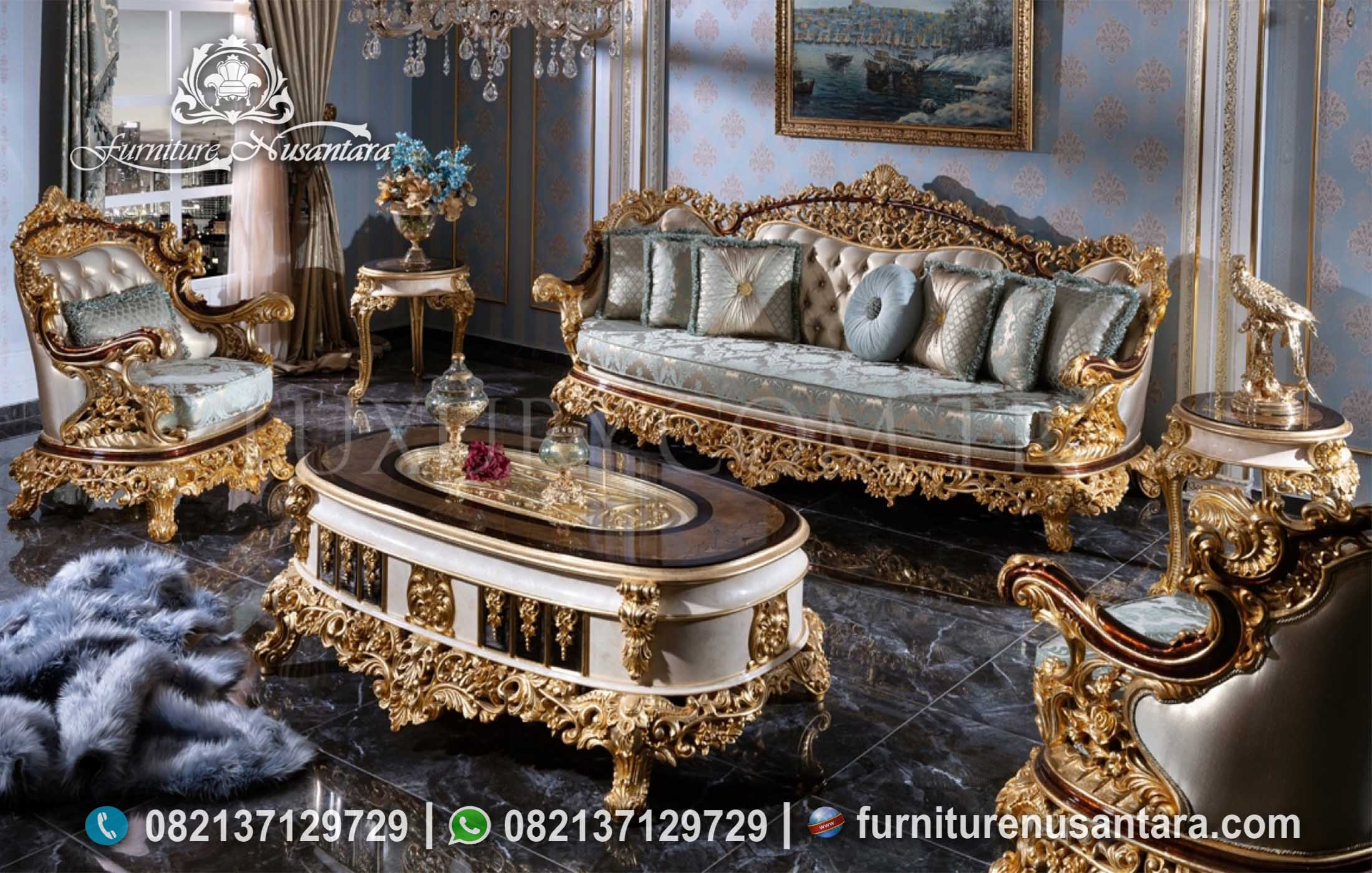 Sofa Klasik Terbaru Full Ukir Jepar Mewah ST-103, Furniture Nusantara