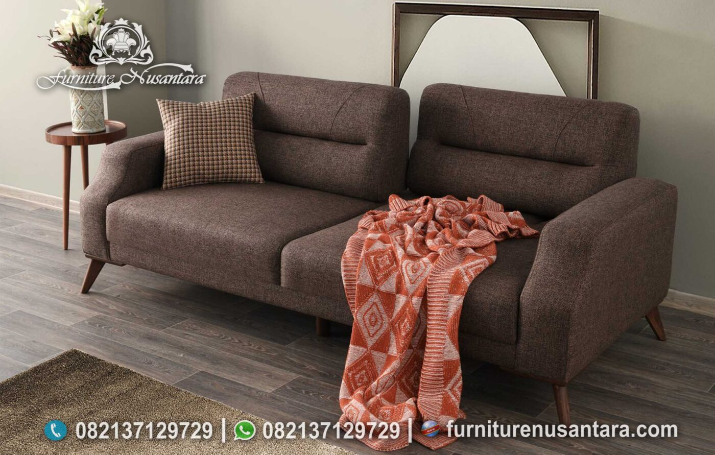 Sofa Bed Minimalis 2 Dudukan Coklat ST-107, Furniture Nusantara
