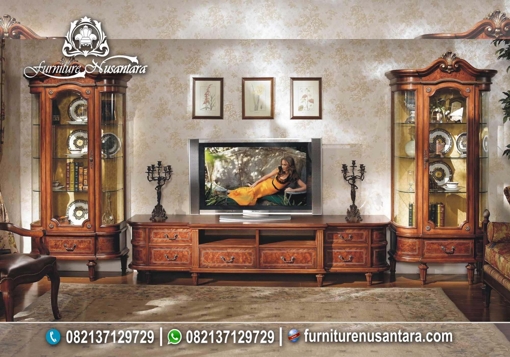 Buffet TV Klasik Kayu Jati Solid Natural BTV-12